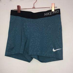 Blue Leopard Print Nike Pro Shorts